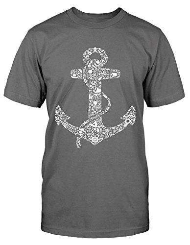 Anker Teile T-Shirt Maritim neu Fun Sailor Seemann Anchor Marine Rockabilly Kult Grau