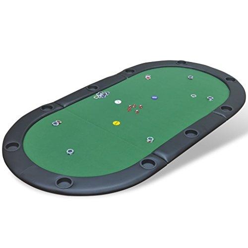 Weilandeal - Mesa de póquer Plegable para 10 Jugadores, Color Verde, Material: Tablero Redondo MDF