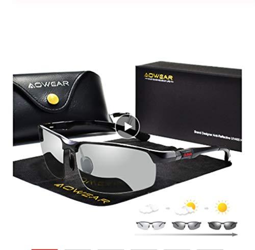 SYYL Photochrome Sonnenbrille Männer Polarisierte Chamäleon Brille Männlich Farbe Ändern Sonnenbrille Hd Tag Nachtsicht Fahren Brillen (Lenses Color : C3 Grey)