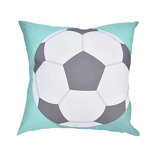 KonJin Throw Pillow Covers 18 x 18 Inches Polyester Soccor Print Pillow Case Decorative Cushion Cover for Soft,Home,Bedroom,Indoor or Out Door Pillowcase -