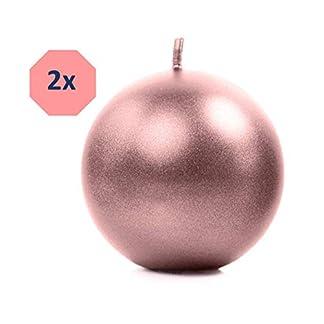 Feste-Feiern-Deko-Weihnachten-I-2-Teile-8cm-Kugelkerzen-Deko-Kerzen-rund-Rose-Gold-metallic-I-Adventskranz-Gesteck-Weihnachtsdeko