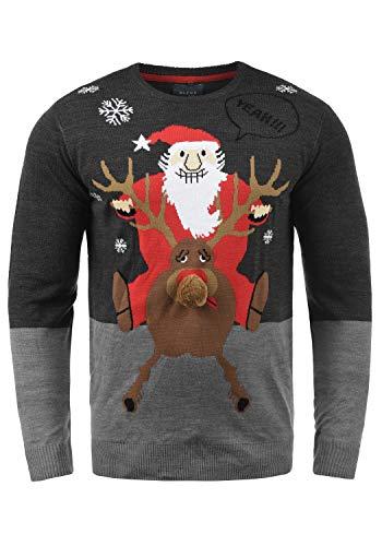 Blend Rudolph Herren Strickpullover Weihnachtspullover Mit Rundhalsausschnitt, Größe:L, Farbe:Charcoal/Santa (70821)