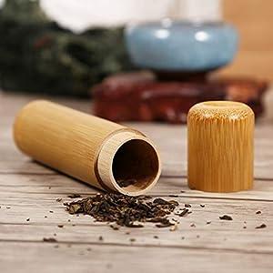 Livetrading Boîte à thé ronde en bambou fait à la main avec couvercle