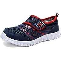 Hishoes Unisex-Niños Malla Transpirable Velcro Planas Peso Ligero Running Verano Zapatillas