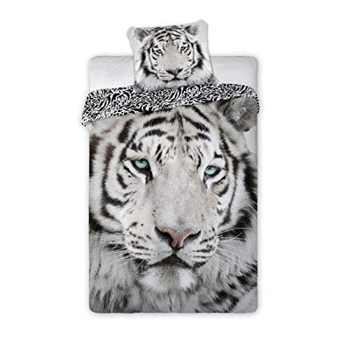 Faro - Juego de Funda nórdica, edredón con diseño de Tigre Blanca Albino, para Cama de 140 x 200 cm, Individual, 100% de algodón, Ropa de Cama Naturaleza Animales Wild Tiger White - 140cm x 200cm