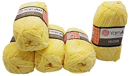 YarnArt Velour 5 x 100 Gramm Strickwolle, Babywolle, samt 500 Gramm Wolle (Hell gelb 844) - Himalaya-garn