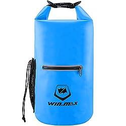 WIN.MAX Dry Bag 5L 10L 15L 20L 30L wasserdichte Tasche Wasserdichter Packsack Beutel f¨¹r Ruder Boot Kajak Rafting Angeln Camping Snowboarden (Himmelblau, 20L)
