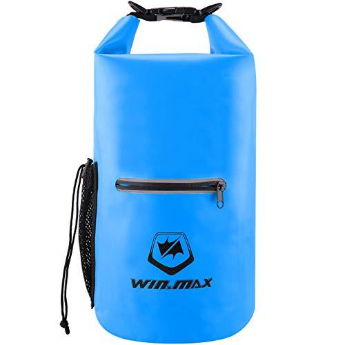 WIN.MAX Dry Bag 5L 10L 15L 20L 30L wasserdichte Tasche Wasserdichter Packsack Beutel f¨¹r Ruder Boot Kajak Rafting Angeln Camping Snowboarden (Himmelblau, 30L)