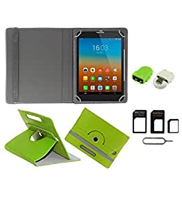 Gadget Decor (TM) PU Leather Rotating 360° Flip Case Cover With Stand For Lava E-Tab Velo+ Tablet + Free Robot USB On-The-Go OTG Reader + Free Sim Adapter Kit - Green