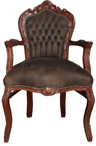 Casa Padrino Barock Esszimmer Stuhl mit Armlehnen Braun/Braun Lederoptik