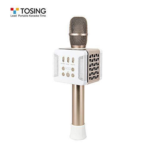 TOSING 016 Wireless Karaoke Mikrofone Bluetooth Lautsprecher Portable KTV Player Mini Home KTV Musik spielen und singen Maschine System für iPhone/Android Smartphone/Tablet (Gold)