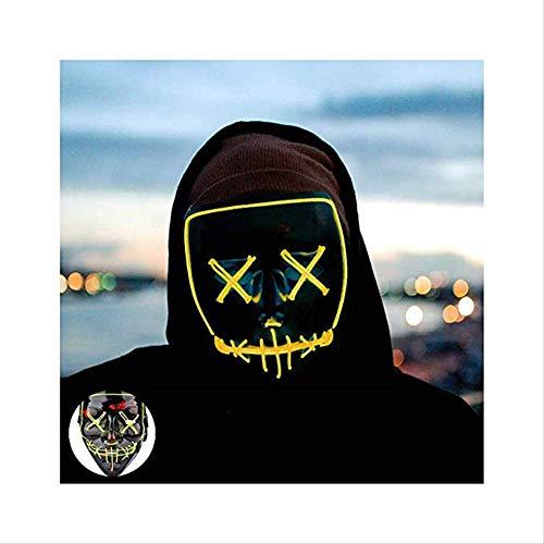 Wbdd Maske Halloween Maske Led Maske Leuchten Party Masken Neon Maska Cosplay Mascara Horror Mascarillas Glühen In Dunklen Masque V Für Vendetta gelb