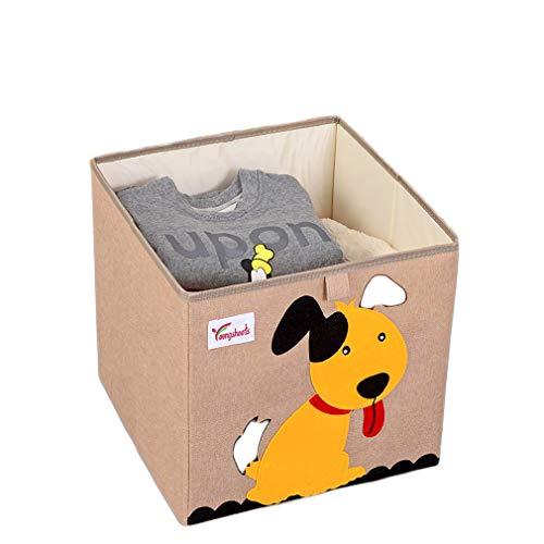 SWECOMZE Cartoon Aufbewahrungsbox für Kinderzimmer Faltbarer waschbarer Spielzeugkiste geeignet für Spielzeug Kleidung Kinderbücher (Hund) -