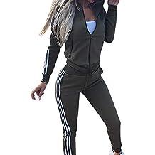Mujeres 2Pcs CháNdal de Manga Larga Chaqueta de Abrigo + Pantalones Traje  Conjunto de Pantalones Sudaderas 4a56aff9a4a7