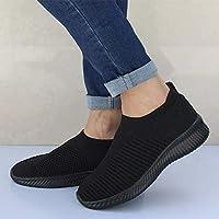Macxy - Women Plus Size Autumn Sneakers Flyknit Female Vulcanized Shoes Casual Slip On Flat Shoe Mesh Soft Walking Footwear [ 6 Black ]