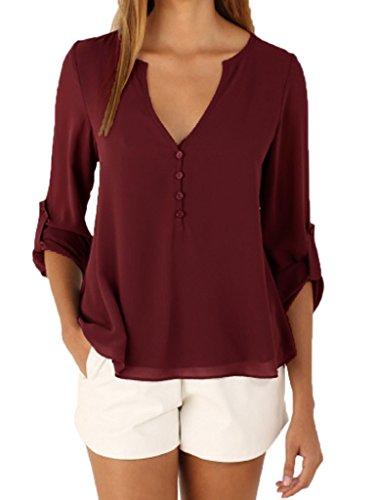 smile-ykk-mujeres-alta-baja-v-cuello-plus-tamano-gasa-suelto-blusa-camiseta-rojo-rojo-vino-xxxx-larg