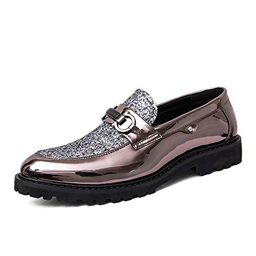 Jingkeke Männer Party Hochzeitskleid Oxfords for Männer Casual Formal Business Loafers Schuhe Synthetic Patent Leather Sequin Emboss Ins Auge fallend Mode (Farbe : Silver, Größe : 41 EU) -