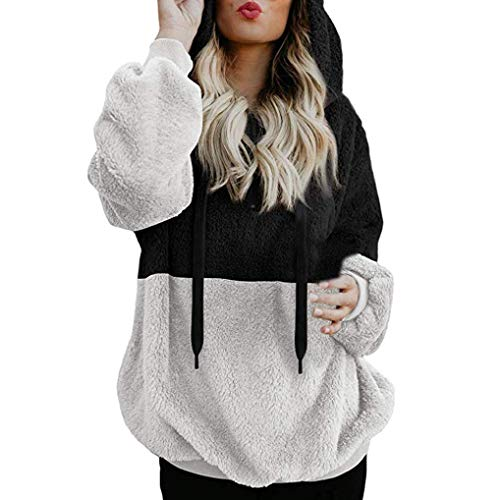 KOKOUK Women Hoodie Ladies Plus Size Long Sleeve Warm-up Faux Fur Zipper Pocket Fleece Hooded Sweatshirt Oversized Coat (D Black) -