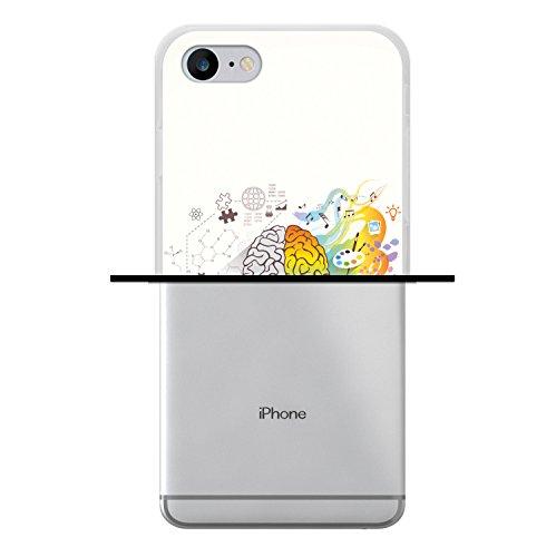 WoowCase Hülle Case für [ iPhone 7 ] Handy Cover Schutzhülle Gehirn, Musik und Wissenschaft Housse Gel iPhone 7 Transparent D0335