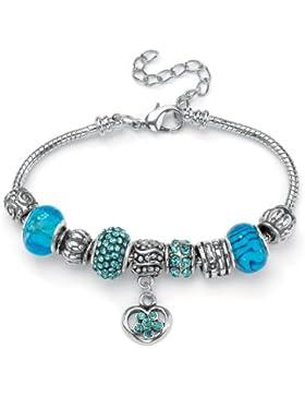 Lillith Star - Armband - Metall Silberfarbig - Beads mit Kristall - Bali-Stil - Aquamarinblau