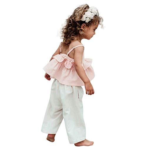 Baby Sommer Sling Shirt Mode Casual Ärmellos top blusen Sets Mädchen Kinder Riemen Rüschen Tops...