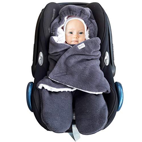 SWADDYL ® Fußsack Einschlagdecke Maxi cosi I Baby Wintersack I Babydecke für Babyschale, Kinderwagen - für Winter aus Fleece (Dunkelgrau-Grau)
