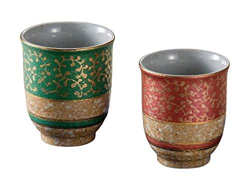 Kuutani Teetasse aus japanischer Keramik Yunomi – Set mit 2 Tassen – Gold Arabesque Grün und Rot K5-641