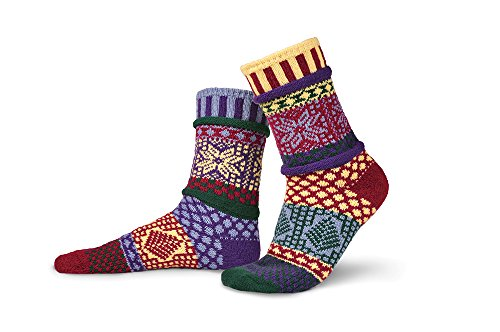 Solmate Socks - Odd or Mismatched Crew Socks for Women or for Men, Made with Recycled Cotton Yarns in USA, Winterberry XL