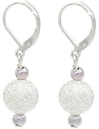 Elegant Silver Plated Stardust Ball Drop Earrings - Secure Lever Backings
