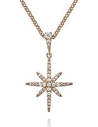 c46647f0aed6 namana Collar con Colgante Estrella del Norte con Circonitas para Mujer. Collar  Estrella de la Suerte Color Plata o Bañada…