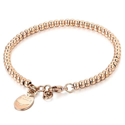 JewelryWe Gioielli Braccialetto Fortunato per Le Donne Acciaio Inossidabile Lucido Bracciali per spose Palle Stile Semplice Pendente Adorabile Gatto