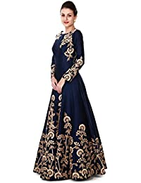 SKYBLUE FASHION Women's Georgette Dress Material (hot lady 2216 Black_Free Size_Blue)