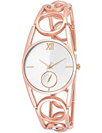 Star Villa Present Attractive Rose Gold Chain Analogue White Round Dial Designer Watch For Women And Girls