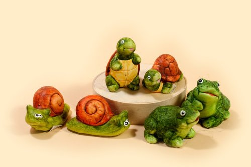 Deko Frosch, Schnecke und Schildkröte aus Keramik, Setpreis 6 Stück