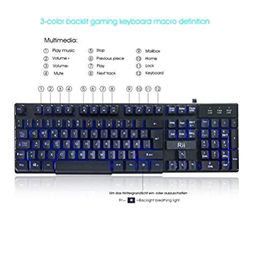 Rii RK100 Gaming Tastatur (105 Tasten, 3 Farben LED-Hintergrundbeleuchtung, QWERTZ Layout)  Schwarz -