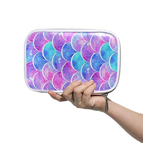 Skala Formen Pink Blau Federmäppchen Stifteetui Stifteetui Schreibwaren Box Handtasche Regenbogenmeer FischMärchen Reise Make-up Kosmetik Tasche Reisepasshalter Aufbewahrung für Frauen -