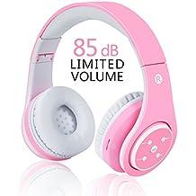 Auriculares inalámbricos para niños, auriculares Bluetooth para niñas con volumen limitado de 85 dB,