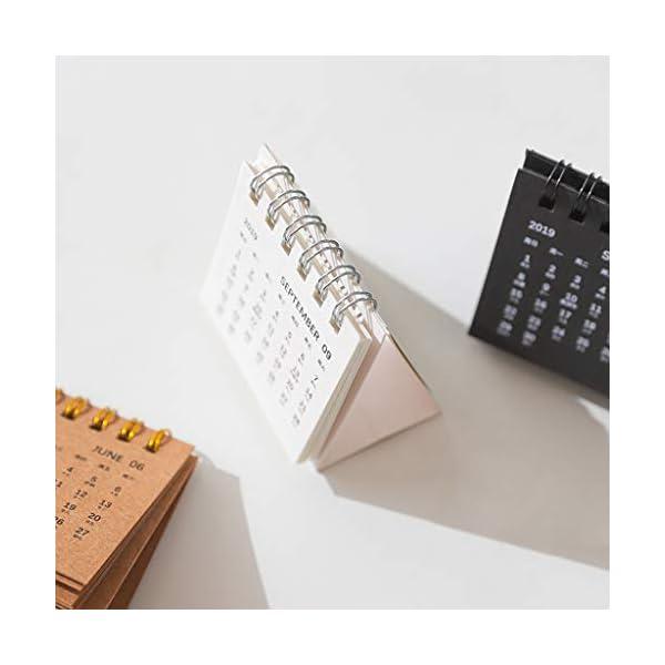 RROVE Table Calendar 2020 Año Nuevo Mini, Creativo Simple Bobina de Escritorio Bloc de Notas Calendario Kraft 3