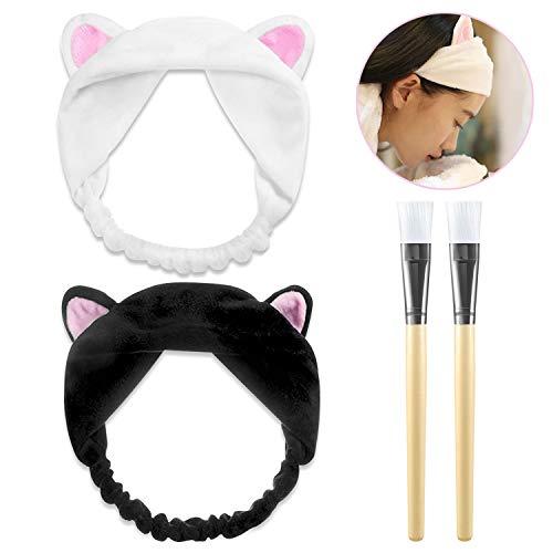 ke Kosmetik Pinsel Gesichtsmaske Pinsel Bürste + 2 Stücke Haarbänder Mit Katze Ohr Weiß Und Schwarz Schminken Werkzeug Set für Gesicht Waschen Make up ()