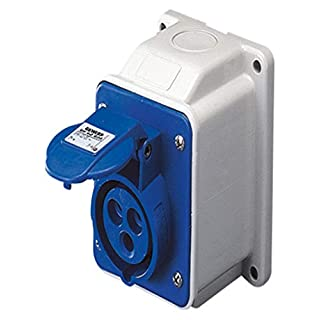 Gewiss GW62404 Low Voltage Screw Wiring 10 Degree Angled Surface-Mounting Socket-Outlet, IP44, 6 Reference, 2P+E Pole, 200V-250V, 16 A, 50 Hz/60 Hz, Blue