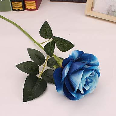 Xqi wangpu Künstliche Blumen 5 Zweig-einzelne einfache Art-Moderne Rosen-Tischplatte-Blume, blau - Kopf-tisch-mittelstücke