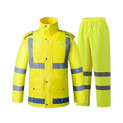 Erwachsene Regenmäntel Guyuan Straßenverwaltungsverkehrspatrouillennacht-Bauarbeitsreflexions-Kleidung fluoreszierender gelber Sicherheitsregenmantel-Erwachsener Spaltenklage Breathable (Size : M)