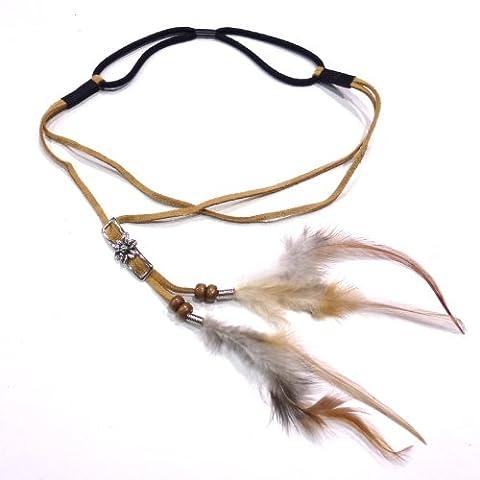 rougecaramel - Headband bijou de tête en plume et simili cuir style hippie - havane