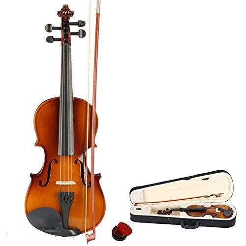 ZGHNAK 3/4 Größe Natürliche Farbe Linde Akustische Violine Geige mit Fall Bogen Kolophonium für Violine Anfänger Alter 7-12 (Kind Größe Violine)