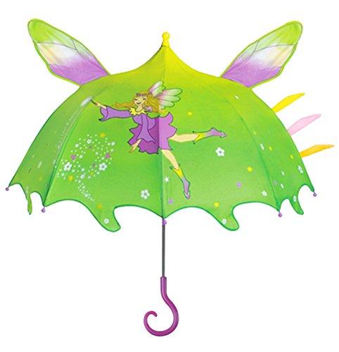 3-D Fee Schirm - Kinderschirm - für Kinder Stockschirm Regenschirm - Prinzessin Elfe / grüner Elfenschirm Elfen Feen Märchenfee - (Junge Fee Flügel)