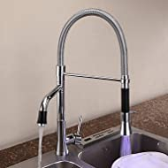 SHUYOU® Contemporary Chrome One Hole Single Handle Pullout Spray Deck Mounted Kitchen Faucet with Color Changing LED Light