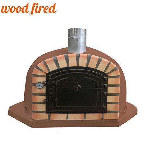 Brick Red Deluxe Extra Corner Wood Fired Pizza Oven, Orange Arch, Brown Cast Door, 100cm