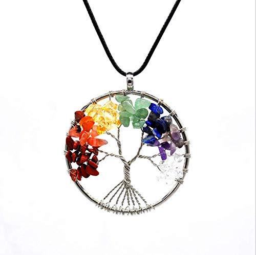 Doyeemei árbol De La Vida Cura Cristalina Del Abrigo Del Alambre Piedra Preciosa Natural Fit Colgante, Collar