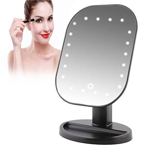 Espejo de aumento de 10x con 20 luces LED para cargar la batería o alimentación directa USB