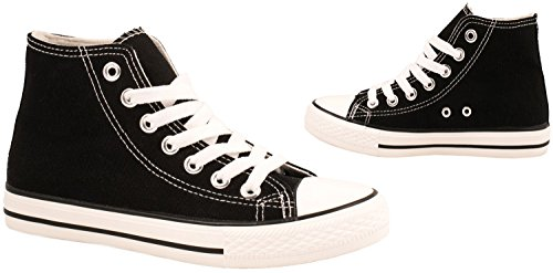 Elara Unisex Sneaker | Sportschuhe für Herren Damen | High Top Turnschuh Textil Schuhe Schwarz Basic